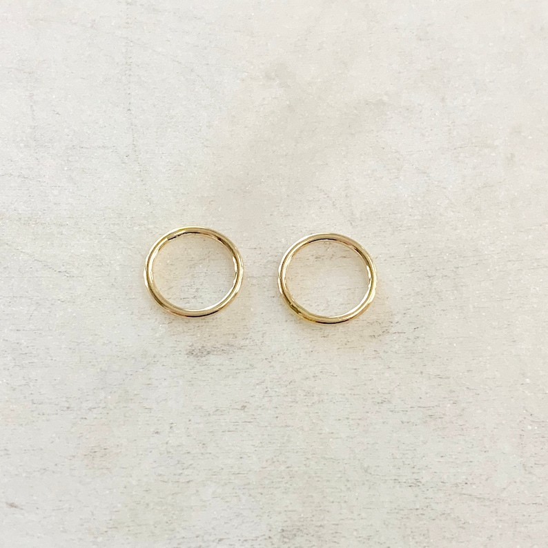 2 Pieces 10mm Shiny Gold Smooth Connector Ring Open Circle image 0