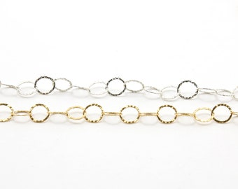 Large Hammered Textured Round Circle Link Chain 8mm 14K gold filled or Sterling Silver / Bulk unfinished chain / Sold by the Foot