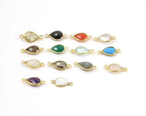 Teardrop Semi Precious Faceted Gemstone 2 Loop Connector Charm / Vermeil or Sterling / Choose your Stone