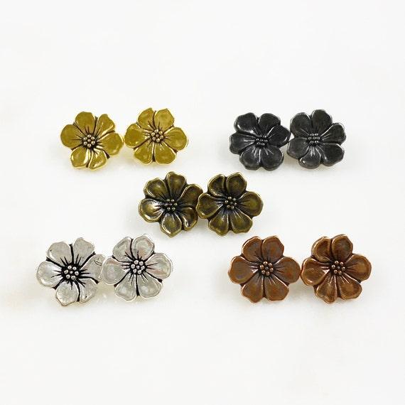 2 Piece Pewter Flower Button Choose Your Color Antique Gold, Gunmetal, Antique Brass, Antique Silver or Antique Copper Unique Floral Button