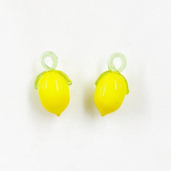 2 Piece Yellow Glass Lemon Charm Juicy Fruit Charm Cute Glass Charm Food Pendant