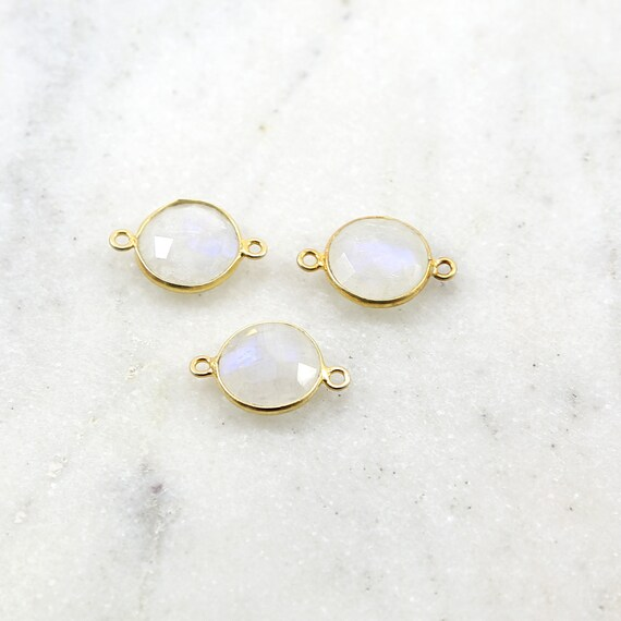 Large Faceted Rainbow Moonstone Round Double Loop Gold Vermeil Connector Bezel Charm 20mm