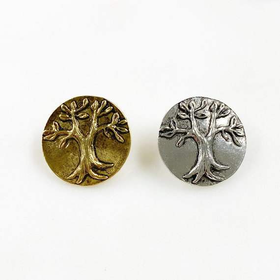 1 Piece Pewter Round Tree Button Choose Your Color Antique Gold or Antique Silver Detailed Tree Button