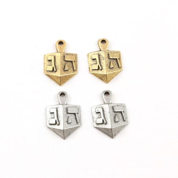 2 Pieces Pewter Dreidel Hanukkah Toy Charm Jewish Religious Pendant 17mm x 16mm