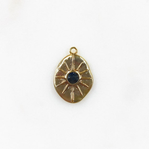 12 Point Hammered Charm 16k Matte Gold Plated with Black Labradorite Center Stone