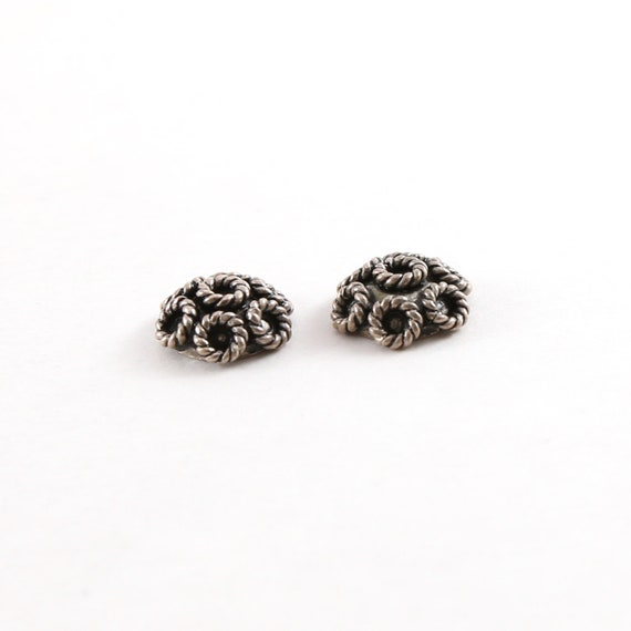 2 Pieces 3mm x 7mm Sterling Silver Rope Flower Bali Style Bead Cap Jewelry Making Supplies