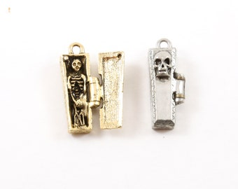 Thick Pewter Skeleton in Coffin Charm Pendant Halloween Skeletons Day of the Dead Charm in Antique Gold, Antique Silver