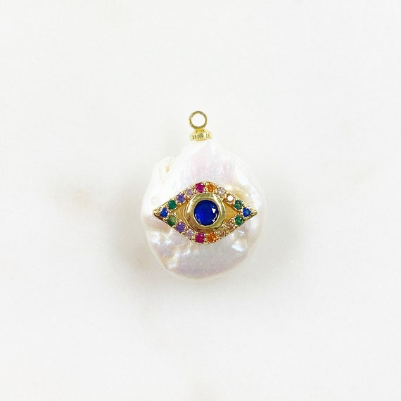 Freshwater CZ Blue Center Rainbow Evil Eye Pearl Charm Gold Plated Natural Shape Pearl Charm