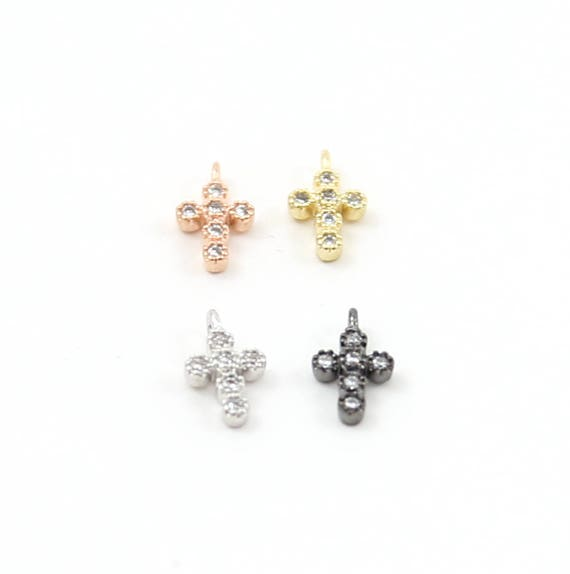 Teeny Tiny 10mm CZ Cross Religious Charm Rhodium Plated in Gold, Silver, Rose Gold, Gunmetal