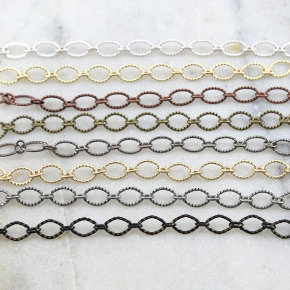 Base Metal Oval Textured Crimped Chain in Shiny Silver and Gold, Antique Copper, Brass, Silver, Gunmetal, Matte Black/ Chain by the Foot