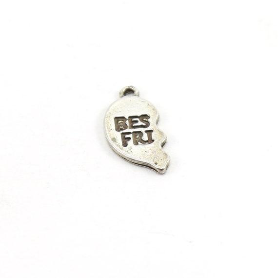 Sterling Silver Best Friend Broken Heart Engraved Heart Charm Love Friendship Pendant