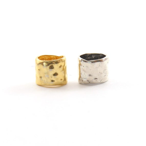 Artisan Organic Hammered Textured Oblong Large Hole Spacer Bead in Vermeil or Sterling Silver 925