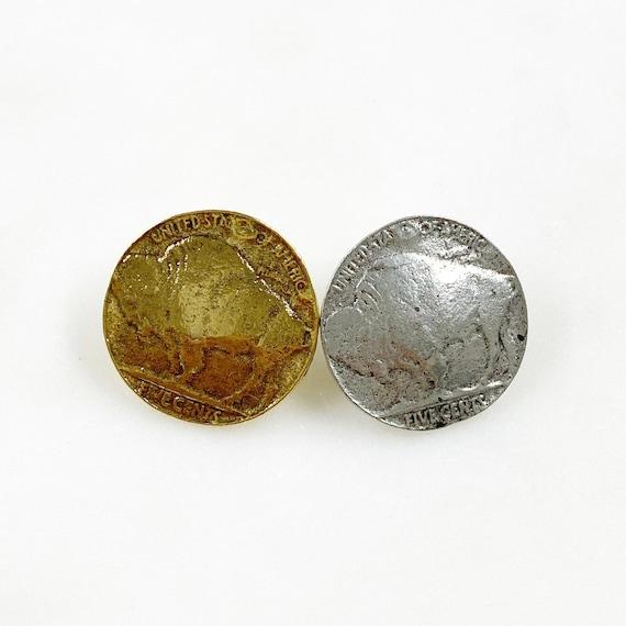 1 Piece Nickel Buffalo Coin Button Pewter Unique Coin Button Choose Your Color Antique Gold or Antique Silver