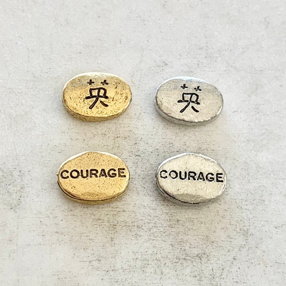 2 Pieces Chinese Courage  Bead Symbol Oval Pewter Bead Inspirational Charm Antique Gold, Antique Silver