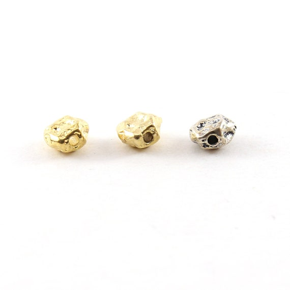 Small 6.5mm Raw Shape Nugget Spacer Bead in Sterling Silver or Vermeil Shiny or Brushed Matte Gold