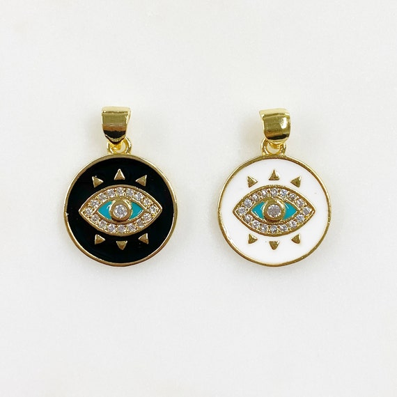 1 Piece Gold Plated Coin Eye Charm with Turquoise Detail Choose Your Color Black or White