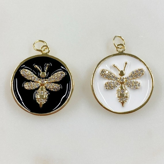 Gold Plated Bumble Bee Coin Charm Choose Your Color Black or White Enamel Cubic Zirconia Charm