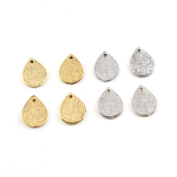 4 Pieces Pewter Metal Speckle Textured Teardrop Stamping Blank Dagger Point Petal Pendant Antique Gold, Antique Silver