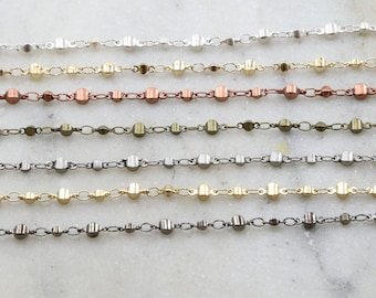 Base Metal Plated Faceted Graduated Ball Chain in 7 Finishes / Chain by the Foot