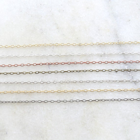 Base Metal Delicate Thin Oblong Link Cable Chain 2mmx 1mm in 7 Finishes / Chain by the Foot