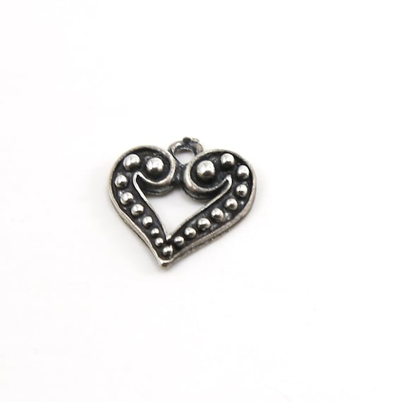 Dotted Beaded Heart Charm in Sterling Silver Love Sisters Mother Daughter Pendant