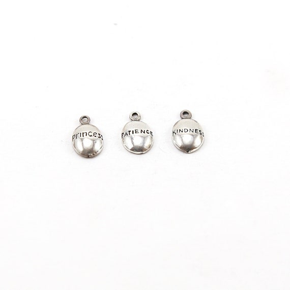 Sterling Silver Princess, Kindness, Patience, Stamped Organic Shape Rounded Oval Charm Inspiration Pendant