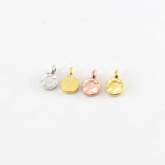 2 Pieces Tiny Round Circle Dot Stamping Blank Charm in Sterling Silver, Matte Gold, Shiny Gold, Rose Gold