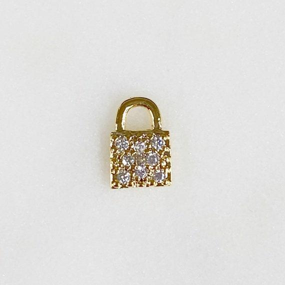 Teeny Tiny CZ Pave Lock Charm Gold Plated Simple Mini Lock Charm