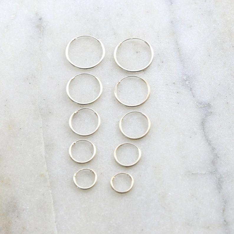 1 Pair Sterling Silver Small Endless Hoop Earrings 18mm 16mm image 0