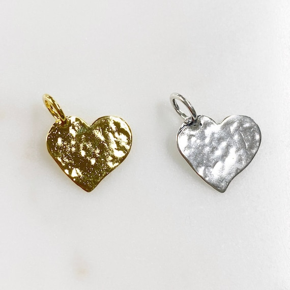 1 Piece Hammered Heart Charm Choose Your Style Vermeil or Sterling Silver Heart Love Charm
