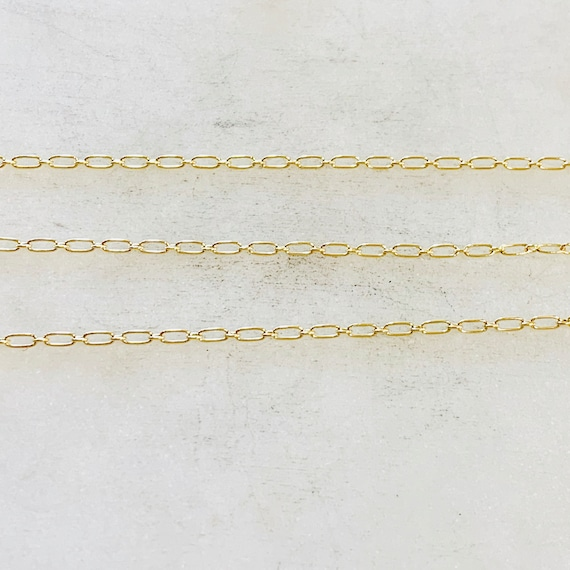 14K Gold Filled Small Oval Link Link Chain with Small Circle 3.4mm x 1.6mm Sold by the Foot/ Bulk Unfinished Chain
