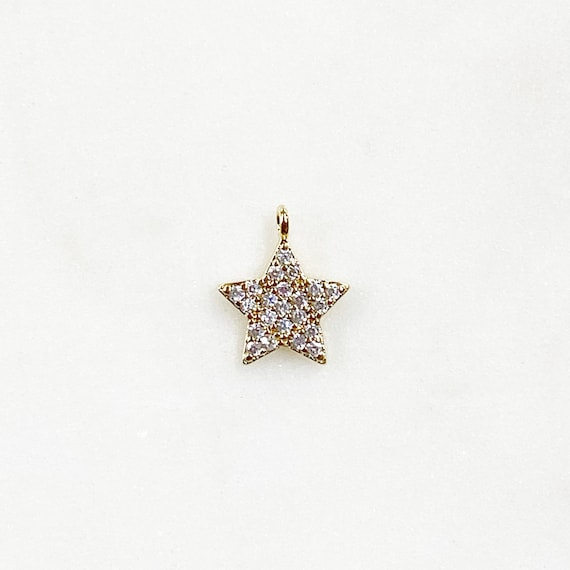 Sparkle Star Cubic Zirconia Gold Plated Charm 5 Point Simple Sparkle Charm