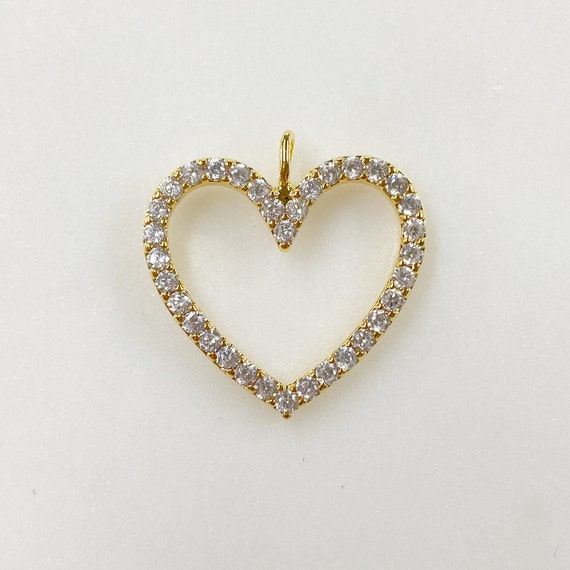 Sparkly Heart 16k Gold Plated Pendant Charm Cubic Zirconia Pave Charm