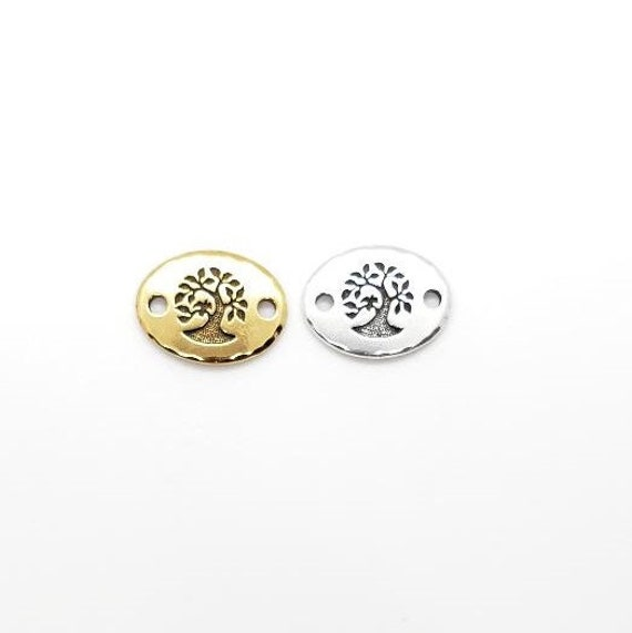 Tree Of Life Stamped Embossed Oval 2 Hole Connector Pewter Base Metal Charm Pendant Religious Spiritual Buddhist