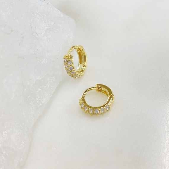 1 pair, Shimmering CZ Pave Huggie Hoop Earring, Gold Plated, Sold as Pair