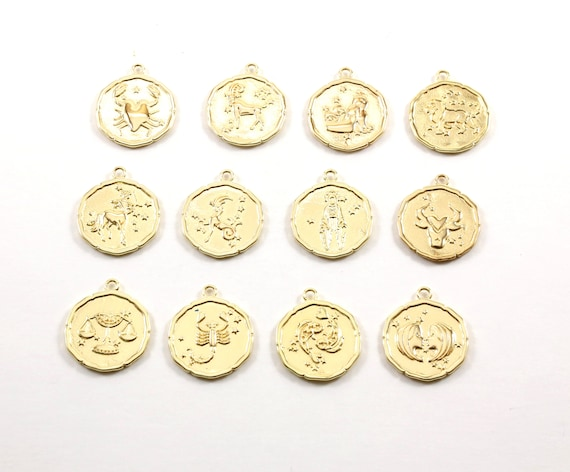 Unique Gold Zodiac Coin Constellation Round Medallion Charms Gold Plated Choose your Zodiac