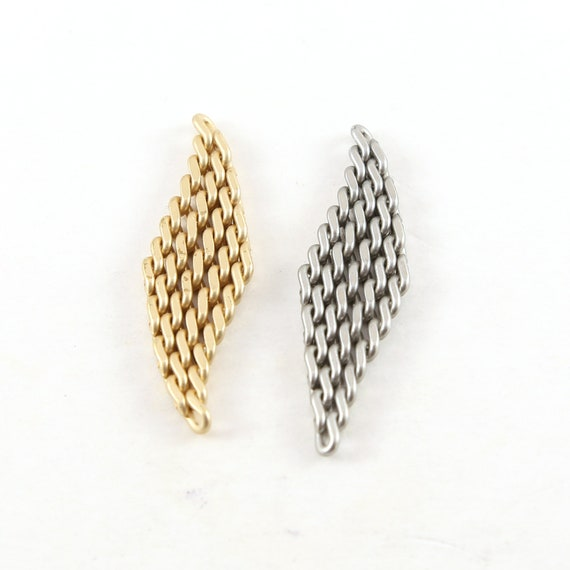 Pewter Metal Small Chain Mail Tassel Pendant Diamond Earring Component Charm 40mm x 11mm  Matte Gold, Silver