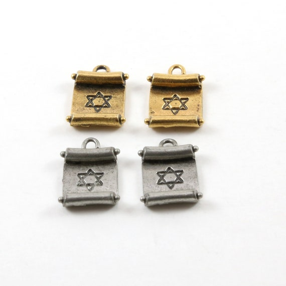 2 Pieces Star of David Paper Scroll Pendant Charm Religious Jewish Pendant 20mm x 13mm
