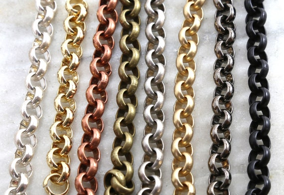 Base Metal Plated 11mm Extra Large Rolo Openable Thick Chain in 8 Finishes / Chain By the Foot