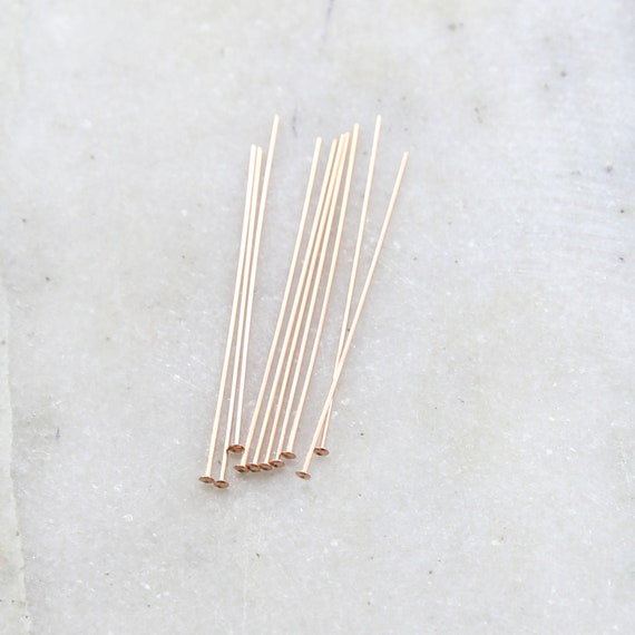 10 Pieces Rose Gold Filled 1.5 Inch Flat Head Pin 24 Gauge Stringing Bead Supplies
