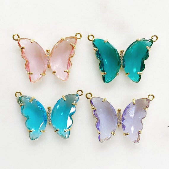Large Acrylic Butterfly Statement Charm CZ Center Choose Your Color, Pink, Green, Blue or Purple