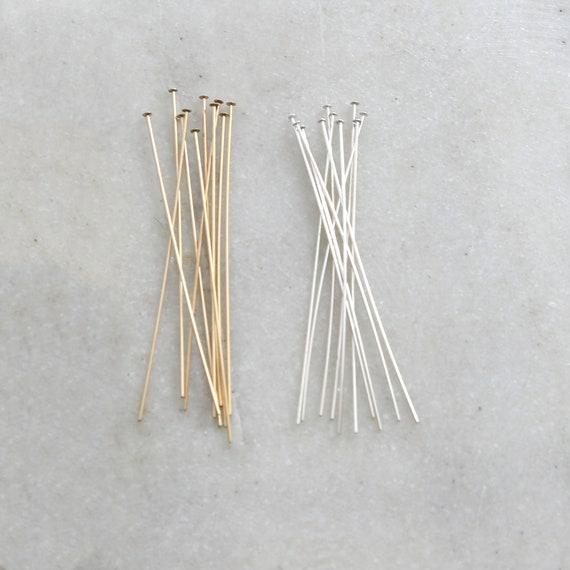 10 Pieces 2 Inch Flat Head Pin 24 Gauge 14K Gold Filled or Sterling Silver Stringing Bead Supplies