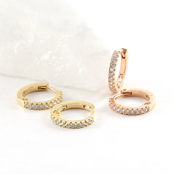 1 Pair Shimmering CZ Pave Round Hoop Earrings Rhodium Plated Earring Hoop Component in Gold or Rose Gold - Sold as a pair