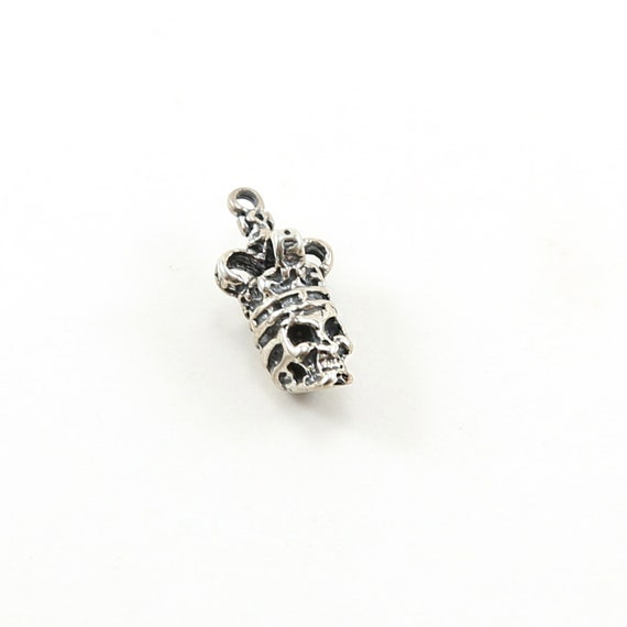 Detailed Sterling Silver 3D Skull with Crown Day of the Dead Halloween Pirate Charm