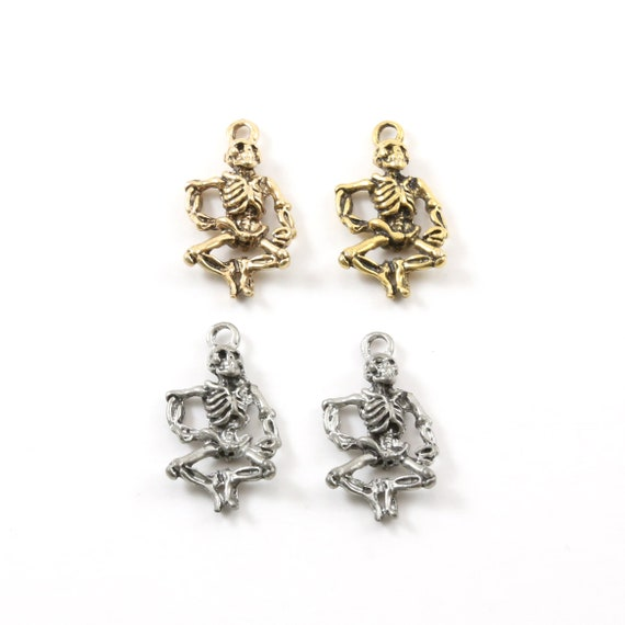 2 Pieces Pewter Dancing Skeleton Charm Pendant Halloween Skeletons Day of the Dead Charm in Antique Gold, Antique Silver