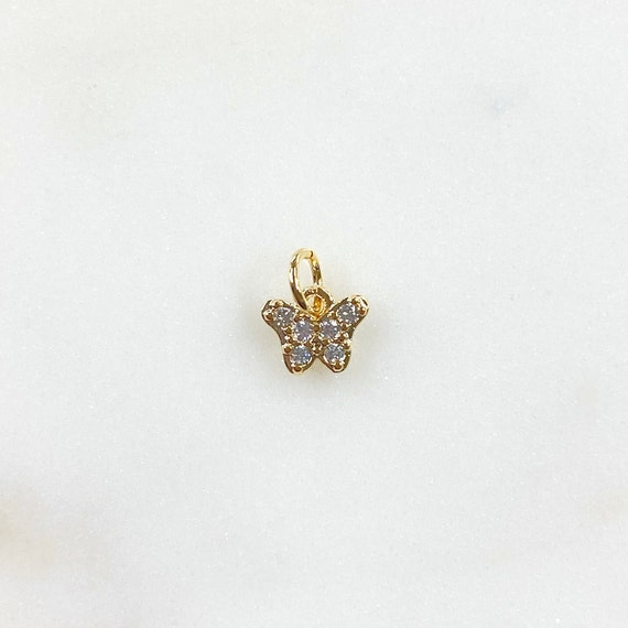 Teeny Tiny Butterfly Charm CZ Gold Plated Charm