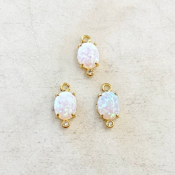 1 Piece Tiny Oval Opal Cubic Zirconia Gold Plated Dainty Drop Bezel Charm 11mm x 5mm Gemstone Gold Rimmed Pendant