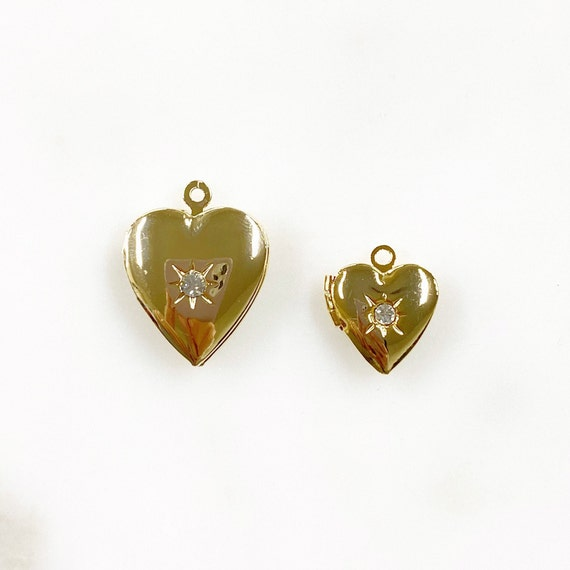 Heart Shaped 16k Gold Plated Locket Charm Cubic Zirconia Center Stone Detail Unique Love Charm Choose Your Size Small or Large