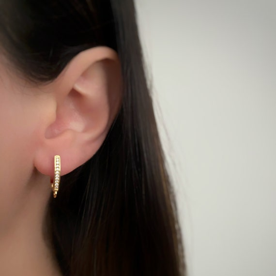 1 Pair Shimmering CZ Pave Square Hoop Earrings Rhodium Plated Earring Hoop Component in Gold - Sold as a pair