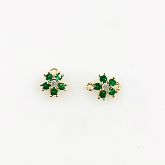 Tiny Cubic Zirconia Pavé Green Flower Charm Choose 1 Loop or 2 Loops Jewelry Making Flower Charms CZ Gold Plated Charm